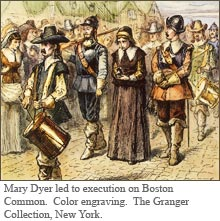 Mary Dyer led to execution on Boston Common